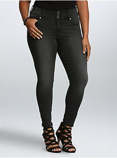 """<p>Our comfy-all-day-long jegging fit gears up for nighttime with a black wash. Super-skinny through the ankle (but stretchy and comfy), with silver tone zippers that add a rock 'n roll touch. The three-button higher rise waist smooths your tummy. Grey hand-sanded fading lends a distressed touch.</p>  <ul> <li style=""""LIST-STYLE-POSITION: outside !important; LIST-STYLE-TYPE: disc !important"""">Higher-rise</li><li style=""""LIST-STYLE-POSITION: outside !important; LIST-STYLE-TYPE: disc…"""