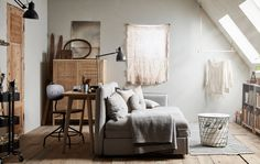 A dreamy attic guest room that could be a perfect studio