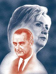 How two of LBJ's least celebrated accomplishments shaped the battle between Clinton and Trump. (Illustration: Joan Wong, photographs by Ruth Fremson/The New York Times and Bettmann/Getty Images)