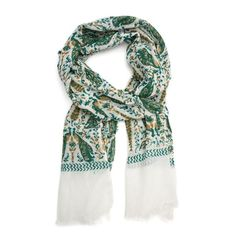 FLORA + FAUNA - scarf recalls a dream in green and gold set in a palace garden full of vegetation and elegant animal life. A marriage of artistic design and artisanal execution, each flora and every fauna detail on these exquisite, wide scarves was block printed by expert hands.  100% Soft cotton, with frayed edges  W x 51 cm  H x 182 cm  Made ethically in India  Care  Hand-wash in an eco - friendly detergent.     Fair Trade, Sustainable, Handmade, Compostable & Funds Community Development