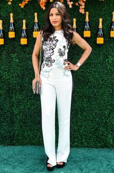 Freida Pinto at the Veuve Clicquot Polo Classic Best Celebrity Dresses, Celebrity Look, Libra, Chic Dress, Dress Up, Freida Pinto, Polo Classic, Floral Jumpsuit, Night Looks