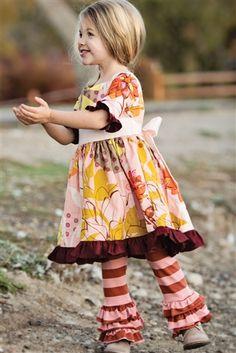 Autumn Splendor Triple Ruffle Legging Brown Pink
