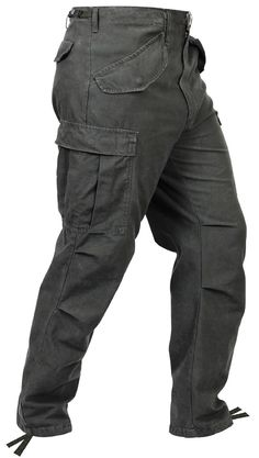 MEN'S BLACK VINTAGE M-65 FIELD PANTS Heavyweight and Comfortable 100% Cotton Material Washed Out For Vintage Look Features Two Adjustable Waist Tabs Six Total Pockets (2 Slash, 2 Cargo, 2 Back Pockets