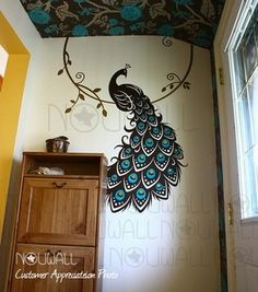 Peacock three-color wall decal,...  This giant decal is a unique way to add color and pattern to a wall. more »  $79.00 | Etsy