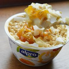 Here's a nice snack I had at the weekend - an @alpro Mango Go On yogurt with @grazedotcom mango granola topper.