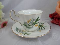 1960s Adderley English Bone China Yellow and White Wildflower English Teacup and Saucer