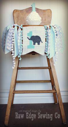 ELEPHANT Birthday High Chair Highchair Banner by RawEdgeSewingCo