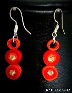 Handmade waterproof quilled earrings material : acid free paper with swarovski flat base KM Q50