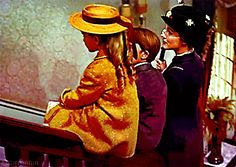 Mary Poppins, Jane and Michael sliding down the banister.