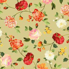 Les Fleurs - Brushstroke Rose Garden - Willow Green