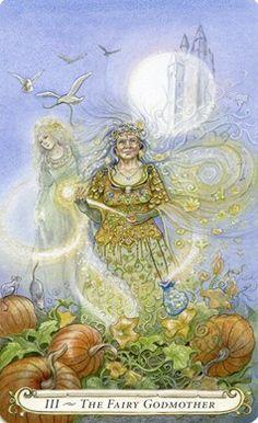 Fairy Godmother (The Empress) The Fairy Tale Tarot by Lisa Hunt - Gallery Tarot Major Arcana, Fairytale Art, The Empress, Fairy Godmother, Oracle Cards, Tarot Decks, Faeries, Fairy Tales, Artsy
