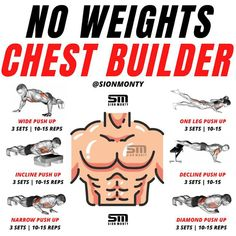 Chest Workout For Men, Home Workout Men, Gym Workouts For Men, Full Body Workout Routine, Workout Plan For Men, Gym Workout For Beginners, Abs Workout Routines, Weight Training Workouts, Home Chest Workout