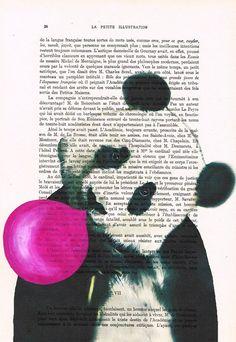 Panda with bubblegum Acrylic paintings Original Prints Drawing Giclee Posters digital Mixed Media Art Holiday Decor Gifts panda illustration