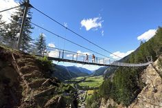 Brand and Burgstein, two sun-kissed Alpine plateaus reminding of bird's nests towering 200 meters above the valley floor. Tirol Austria, Suspension Bridge, Felder, New Perspective, Golden Gate Bridge, Natural Beauty, Tower, The Incredibles, Adventure