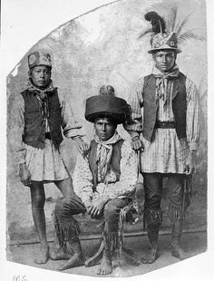 Young Seminole men 1909. Pants were kept in town for he men and they were asked to put them on once they got around white folks. One youngste refused as you can see by windonthewater, via Flickr