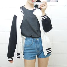 Timeless look in a Letterman Jacket Style sweatshirt.  Letterman jacket , Jacket, Sporty, Teen Fashion, Teen Style