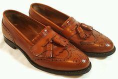 Alden New England Tassel Wingtip Brown Leather Men's Dress Loafers Shoe Size 8.5 #Alden #WingTip #Formal