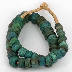 Antique Blue Hebron Glass Beads, yrs old - Produced in Palestine & traded into Africa in particular the Sudan. Reportedly the manufacturing of these beads used sand & sodium bicarbonate from the famous Dead Sea. Ethnic Jewelry, Beaded Jewelry, Jewellery, Ceramic Beads, Clay Beads, African Trade Beads, Ancient Jewelry, American Jewelry, Bracelet Designs