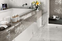Beautiful Marvel Silver Mosaic, Calacatta Extra and silver tiles