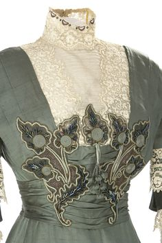 Detail Woman's Dress 1910  Lace, embroidery, beads, ruffles  Collection of Glenbow Museum