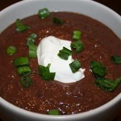 Black Bean and Salsa Soup.  So easy!  Adds just a little extra heat.