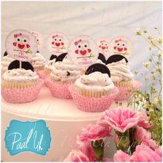 Paal Uh. Mesa de Postres & Snacks. Dulces. Rosa. Búho. Niña. Baby Shower. Pink.   Candybar. Cupcake.