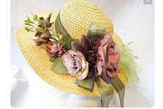 Straw Summer hat with silk flowers