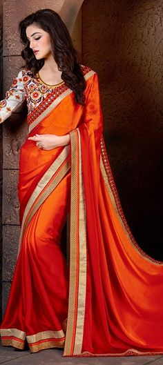 180363 Orange, Red and Maroon  color family Embroidered Sarees, Party Wear Sarees in Faux Georgette fabric with Lace, Machine Embroidery, Mirror, Resham work   with matching unstitched blouse.
