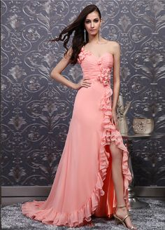 beautiful one-shoulder sweetheart chiffon dress with handmade flowers