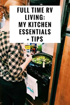 Are you considering full time RV living? If so, research is key and can help make your launch day and the following weeks and months go a little bit smoother. Here are some of my kitchen essentials that help make meal prep a bit easier. #rvliving #fulltime #organization #tips #ideas #forbeginners #rvlife