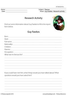 PrimaryLeap.co.uk - Research Activity - Guy Fawkes Worksheet
