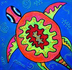 Sea Dance - Funky, colorful, original art - Sea Turtle