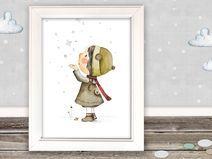 """Kinderbild """"Schnee""""  fürs Kinderzimmer (Poster)"""