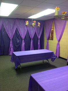 Royal craft room - love the curtains, cheap to do with plastic table coverings