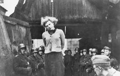 Seventeen year old Maria B. #Bruskin grimaces as the noose tightens around her neck, moments before her life ended. She and two others died by hanging in Minsk, Belorussia on Oct 29,1941, charged by the Germans as partisan accomplices.