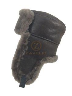 Genuine Shearling Sheepskin Russian Ushanka Winter Fur Leather Hat - Cashmere #Zavelio #RussianUshankaCossack