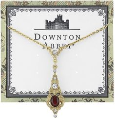 Downton Abbey® Gold-Tone Clear and Red Crystal Pendant Drop Necklace