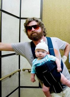 Zach Galifianakis and his babywearing in The Hangover (pictured here with baby Carlos) has partly influenced a new gene...