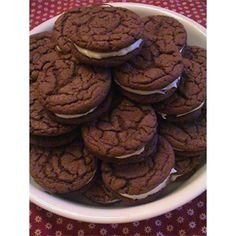 "Homemade Chocolate Sandwich Cookies | ""Fabulous cookies. Everywhere we take these cookies they are the first to disappear. The cookies don't need very much icing between them to sweeten them up. These are so easy to make..."""
