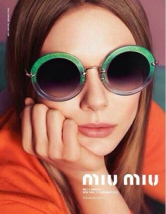 Elizabeth Olsen for Miu Miu Eyewear Spring/Summer 2014 Advertising Campaign, ph. by Inez van Lamsweerde & Vinoodh Matadin.