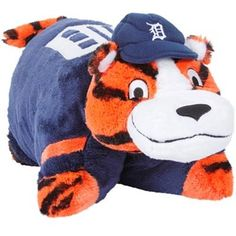 So cute!  A Paws Pillow Pet...modeled after the suit is drycleaned at the end of theseason I hope.  (After a long,hot season, pew!!!)  Detroit Tigers Mascot Pillow Pet