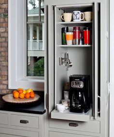 2021 Kitchen Trends: A Complete Guide To Learning To Love Your Kitchen Again Kitchen Pantry Cabinets, Kitchen Cabinet Design, Kitchen Appliances, Coffee Station Kitchen, Home Coffee Stations, Small Kitchen Organization, Kitchen Storage Solutions, Garage Organization, Hidden Kitchen