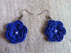 Crochet Earrings, crochet flower earrings in navy