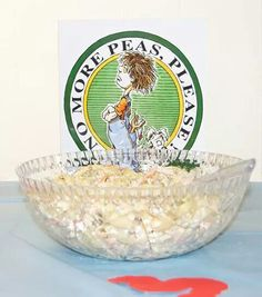 No more peas please was pasta salad with peas made by my cousin Clara