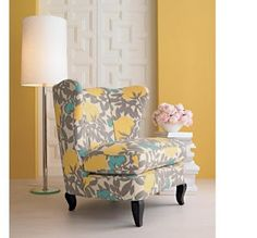 This chair is super cute!  Yellow and gray color scheme. With a pop of turquoise  That's my Master colors!! Love love