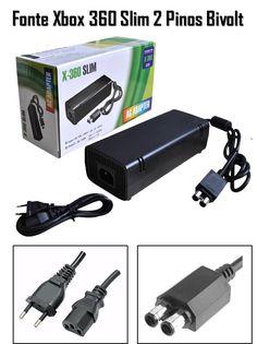 (1) Fonte Xbox 360 Slim 2 Pinos Bivolt 110v 220v 135w Cabo Forç - R$ 42,90 em Mercado Livre