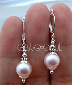Sterling Bali Blanc South Sea Shell Pearl leaverback Dangle Boucle d/'oreille