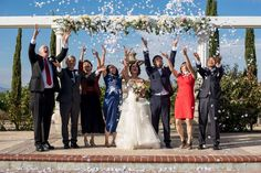 A shower of rose petals over the happy couple after their vineyard wedding ceremony. Real photos from a beautiful vineyard wedding at Mount Palomar Winery in Temecula Valley Southern California wine country. #mountpalomarwinery