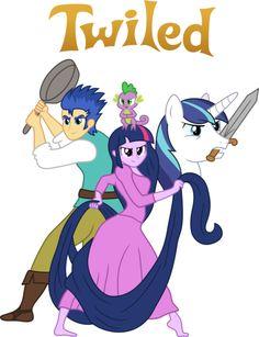 #680440 - artist:steghost, barefoot, chameleon, crossover, disney, equestria girls, flash sentry, frying pan, long hair, long mane, mouth hold, pan, princess twilight, safe, shining armor, smile, smirk, species swap, spike, sword, tangled, twilight sparkle, vector, weapon - Derpibooru - My Little Pony: Friendship is Magic Imageboard