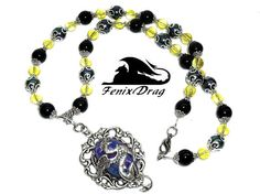 Necklace Gryphon citrine black pearl agate
